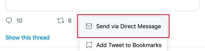 إرسال تويتر DM