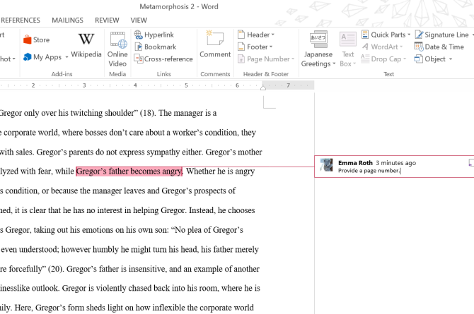 Microsoft Word Comments Insert