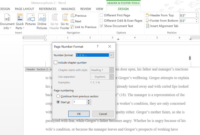 Microsoft Word Page Number Formatting