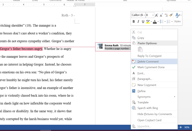 Microsoft Word Reply and Delete Comments
