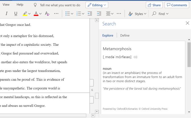 Microsoft Word Smart Lookup Definition