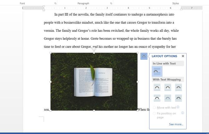 Microsoft Word Text Wrap Menu
