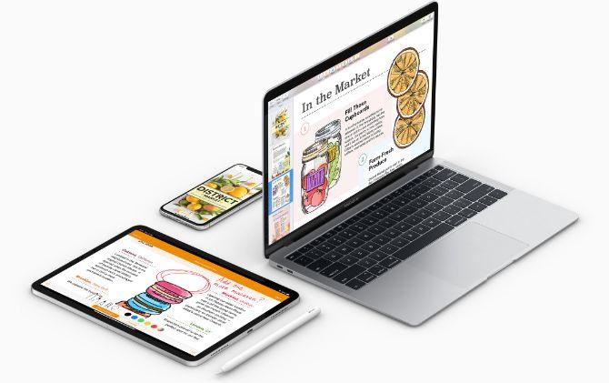 Устройства Apple, использующие офисный пакет iWork
