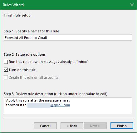 Outlook заканчивает правило пересылки