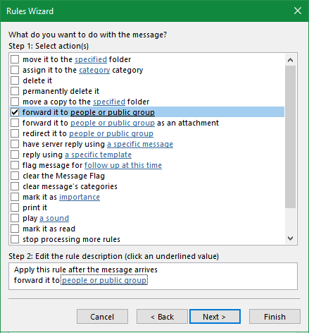 Outlook Select Forward People