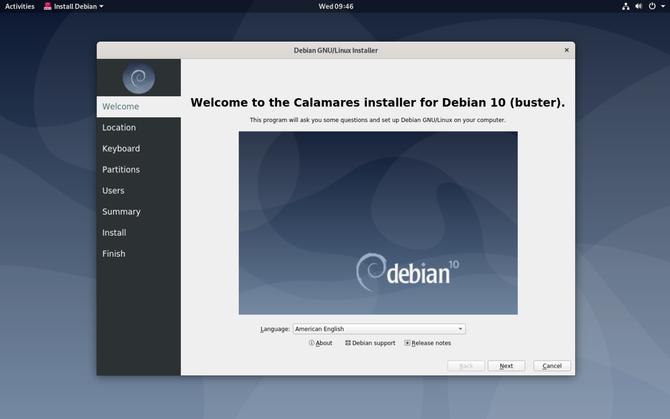 Процесс установки Debian GNOME Live CD