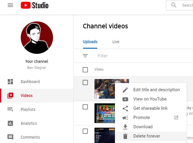 يوتيوب حذف الفيديو