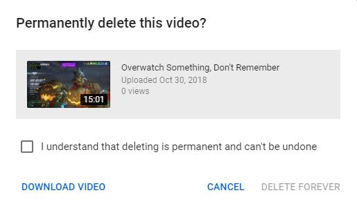 صفحة حذف فيديو YouTube