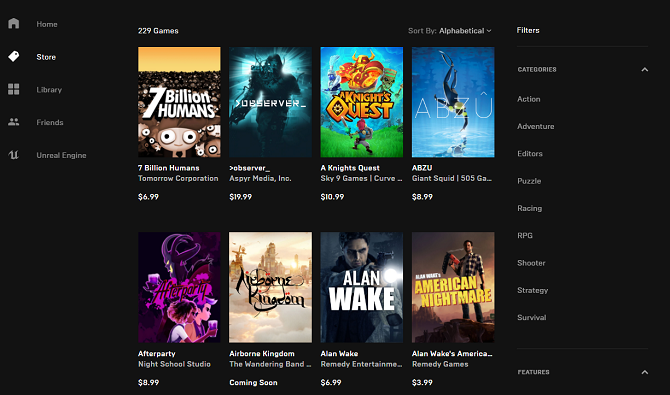 Epic Games Store games selection