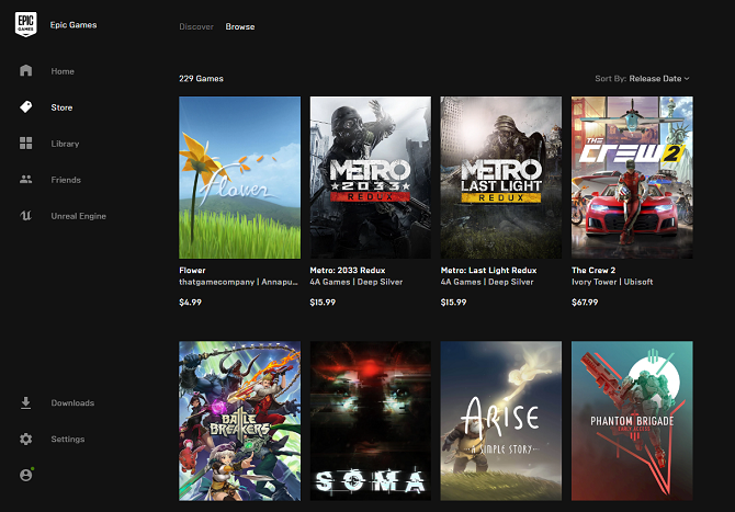 Epic Games Store window