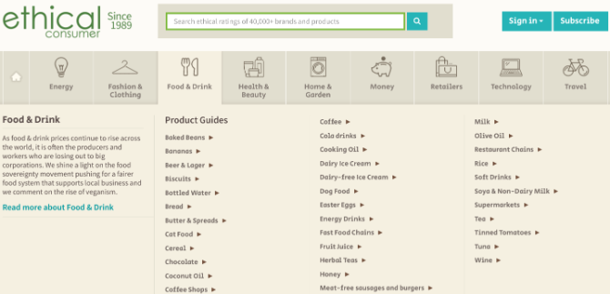 Ethical Consumer ranks products and brands, and educates people about the ethical problems across goods