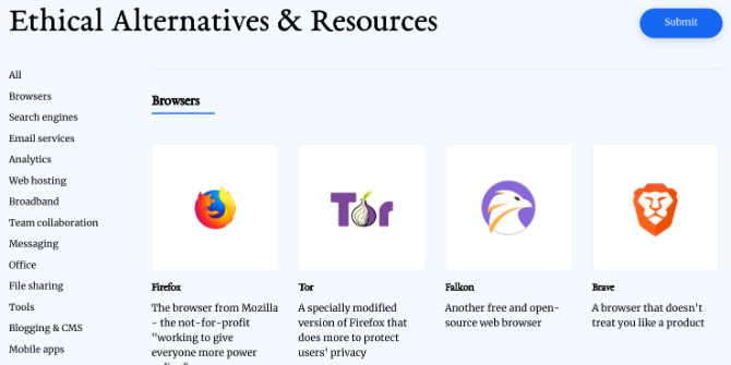 Ethical.net lists ethical alternatives to technology products, brands, and services