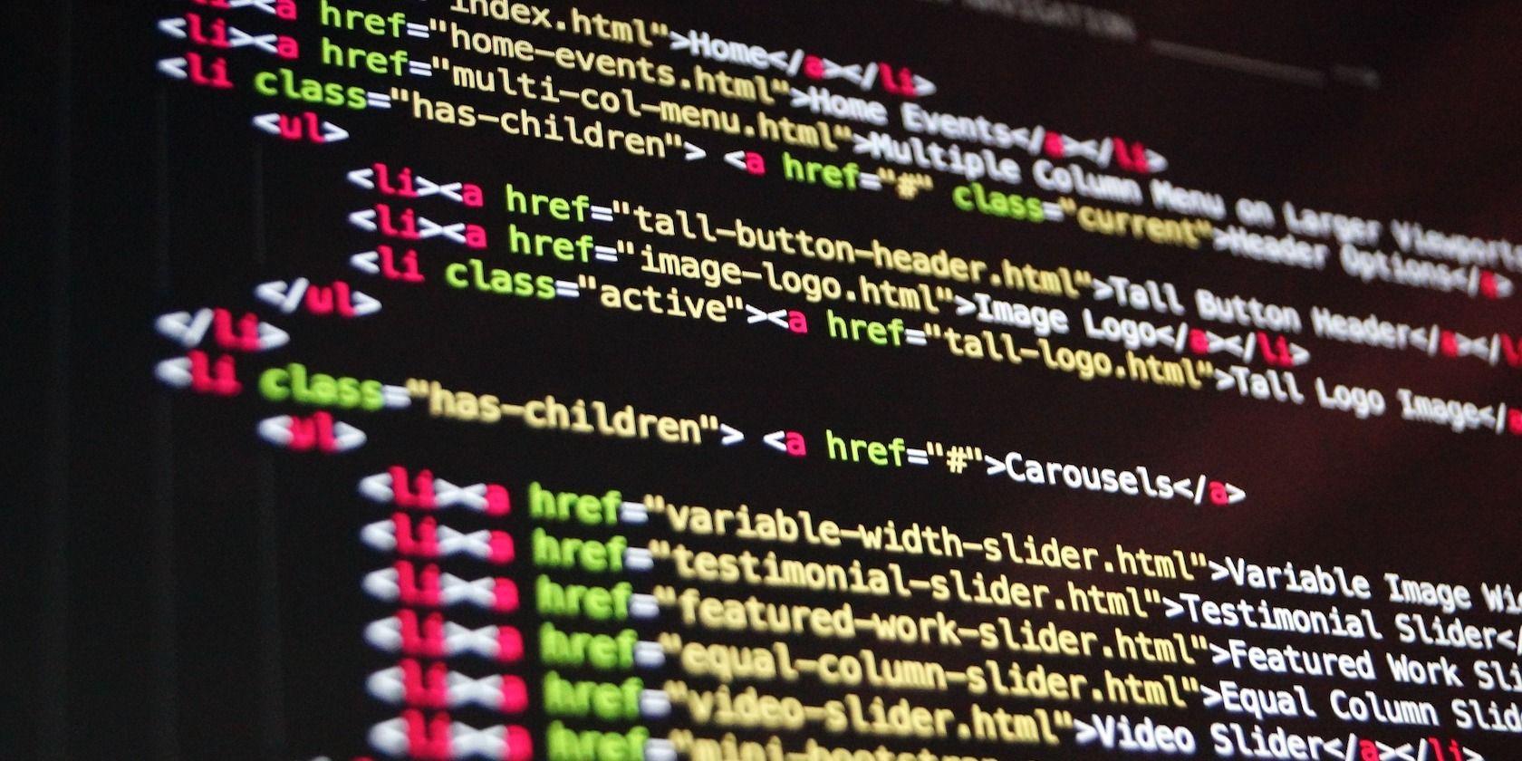 A screenshot of HTML code