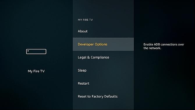 Amazon Fire TV developer options