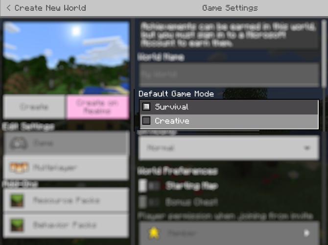 Select Minecraft's Creative mode