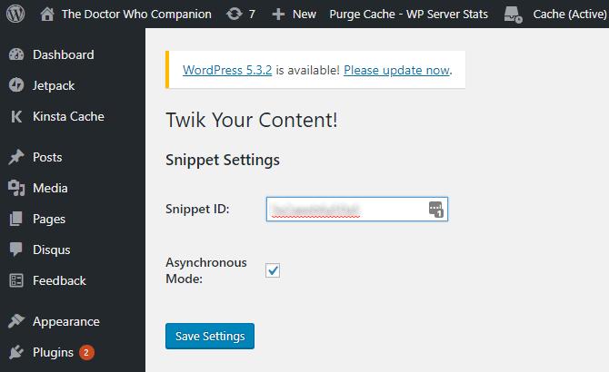 Install twik on your WordPress blog