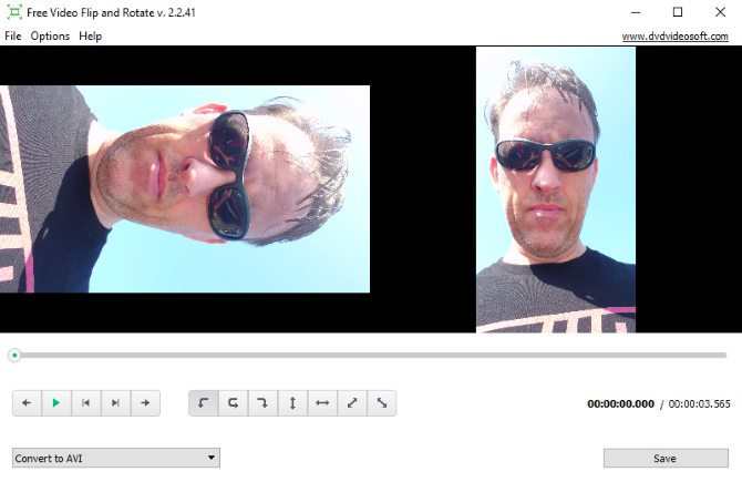 Free Video Flip and Rotate interface