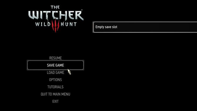 The Witcher 3 tips - save menu
