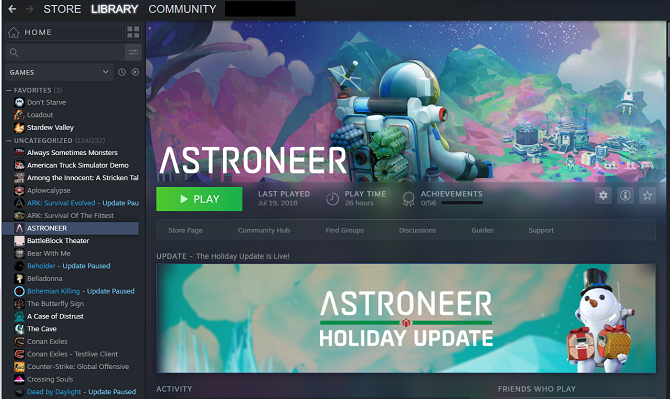 Steam games library user interface