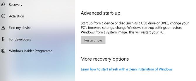 расширенный запуск Windows