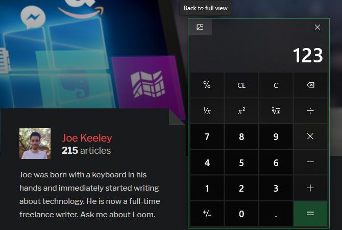 Windows Calculator Всегда сверху