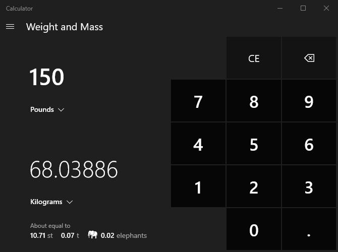 Конвертация единиц измерения в калькуляторе Windows