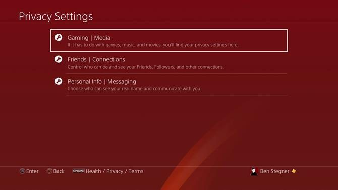 PS4 Privacy Options