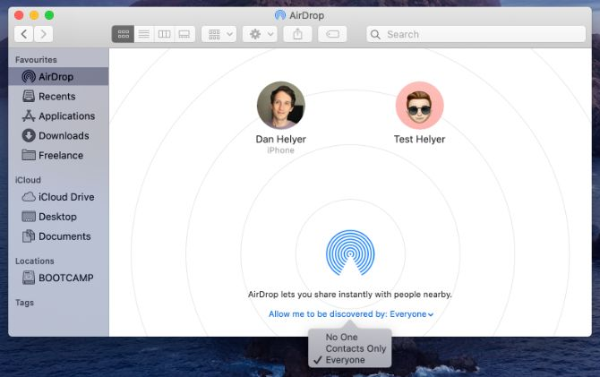 AirDrop в Finder на Mac с опцией видимости для всех