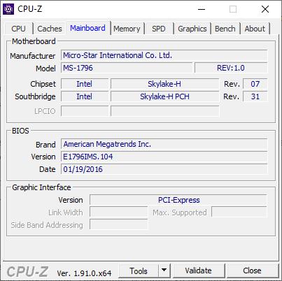 Информация о BIOS материнской платы CPU Z
