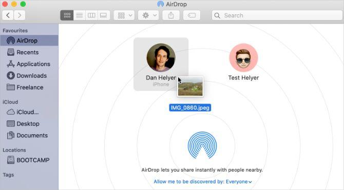 Перетаскивание для AirDrop в Finder