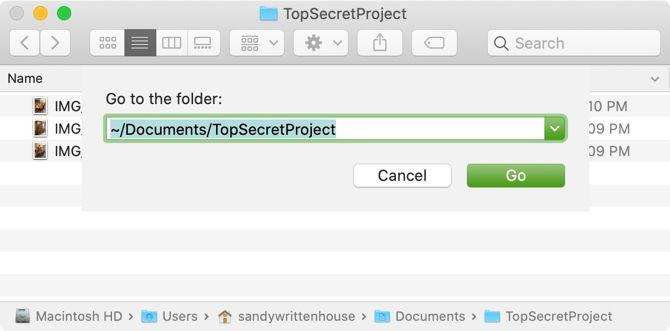 Введите путь к скрытому файлу на Mac