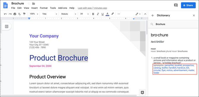 Синонимы словаря Документов Google