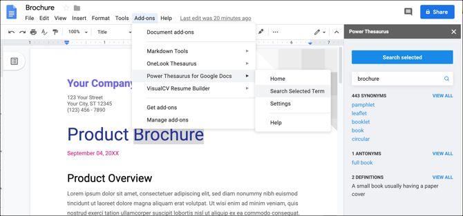 Google Docs Power Тезаурус