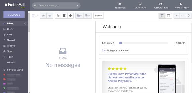 ProtonMail şifreli gelen kutusu