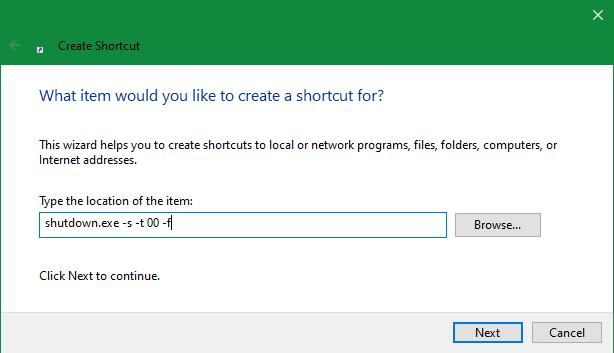 Pintasan Windows Shutdown