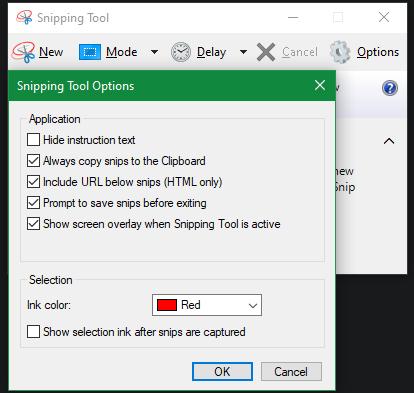 Параметры Windows Snipping Tool