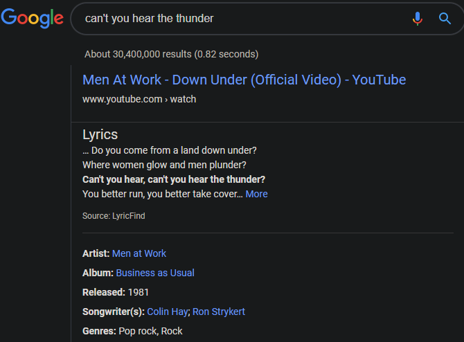 YouTube Search Lyrics Google