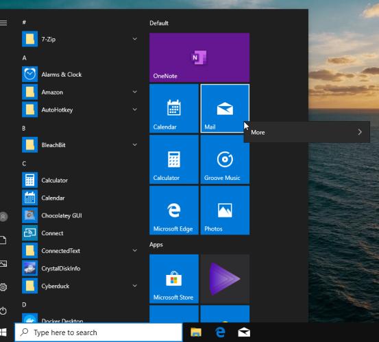 настраиваемый стартовый макет в Windows 10
