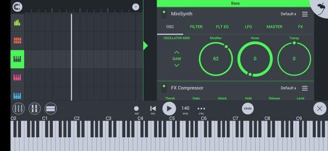 макет экрана FL Studio с пианино
