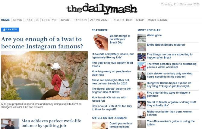 The Daily Mash Funny News Sites