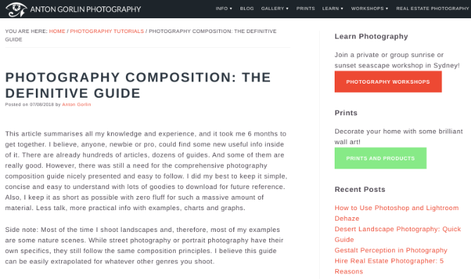 Anton Gorlin has an in-depth, clear, and easy-to-understand guide to photography composition