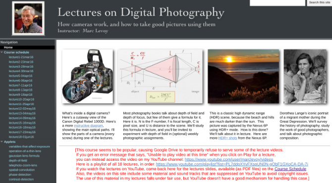 Get Marc Levoy's Digital Photography lectures he taught at Stanford as a free 11-week course