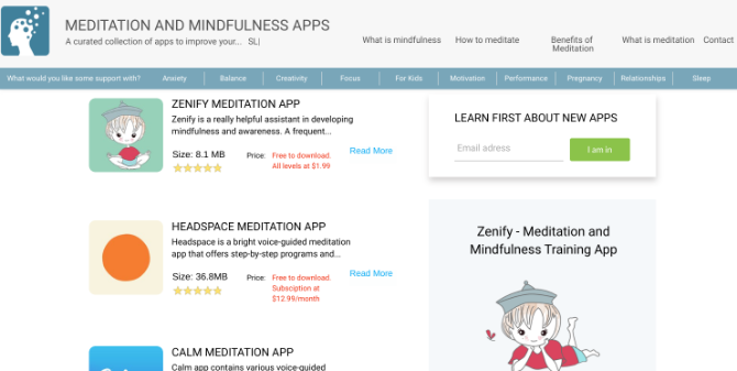 MeditationApps.com aggregates the best meditation apps and reveals their true price from subscriptions and additional purchases