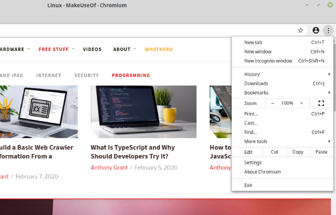 Chromium browser on Linux