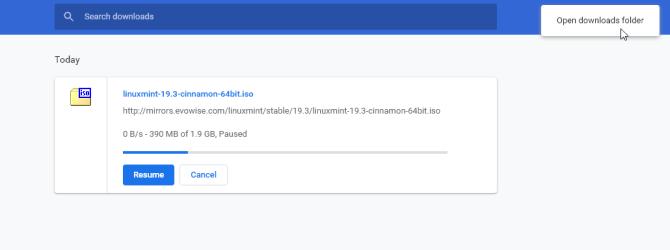 открыть папку загрузок из Chrome