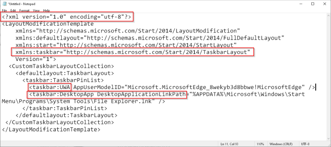 Пример кода макета панели задач в Windows 10
