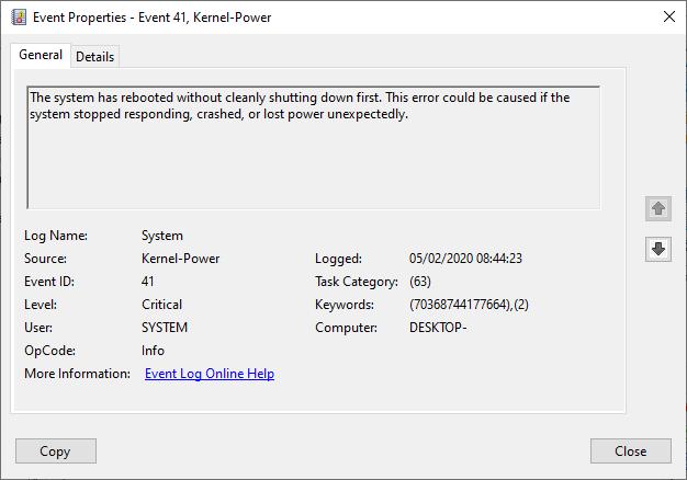 Windows 10 ID ядро события критической ошибки 41