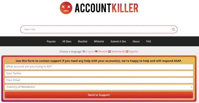 Главная страница для AccountKiller