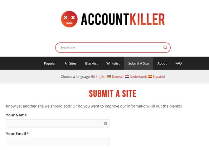 Submit a site to AccountKiller