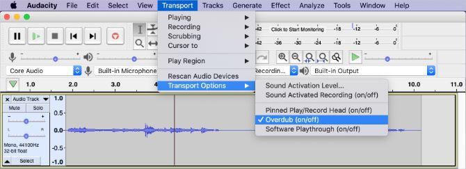 Строка меню Audacity с опцией Overdub
